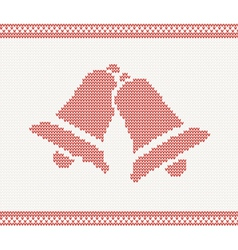 Red knitted with two bells vector