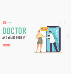 Remote practitioner health care landing page vector