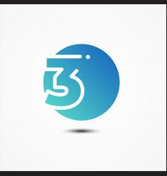 round symbol number 3 design minimalist vector image