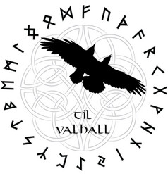 Scandinavian ornament in circle magic norse vector