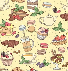 Seamless pattern fresh desserts with coffee tea vector