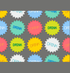 seamless pattern of colorful bottle caps vector image