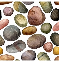 Seamless pattern with sea stones drawing in vector