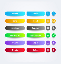 set clean colorful web app buttons with symbols vector image