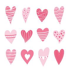 set hearts pink color vector image