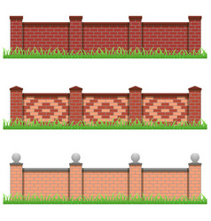 set of brick stone fences for farm manor or garden vector image