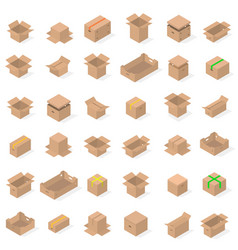 set of cardboard boxes in 3d vector image