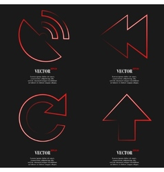 Set of Red web icon flat design Simple sticker vector image