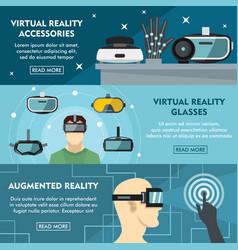 set of three horizontal virtual reality banners vector image