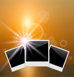 Set photo frame on blurred sunrise seascape - vector