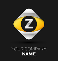 silver letter z logo in the silver-yellow square vector image