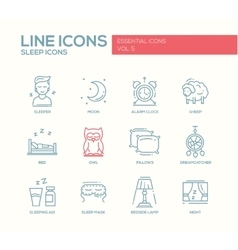 Sleeping - line design icons set vector