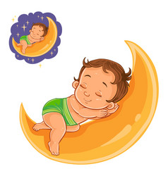 Small baby in a diaper asleep using a moon vector