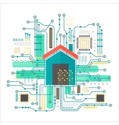 smart home concept Smart home in microchip vector image