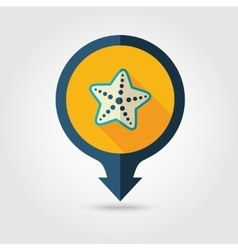 Starfish pin map flat icon Summer Vacation vector image
