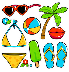 summer theme beach vacation design elements vector image