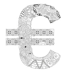 symbol of euro zentangle decorative object vector image