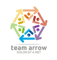 Team arrow hexagon colorful symbol vector