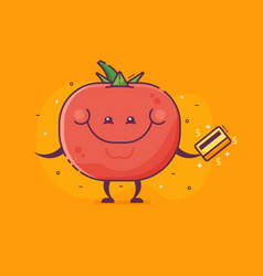 Tomato vegetable character with credit card vector