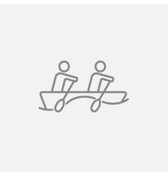 Tourists sitting in boat line icon vector image