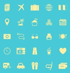 Trip color icons on blue background vector image