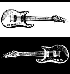Two guitars black and white vector