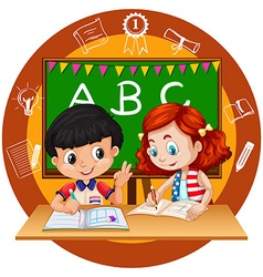 Two students doing homework vector image