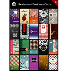 Variety business cards template for restaurant vector