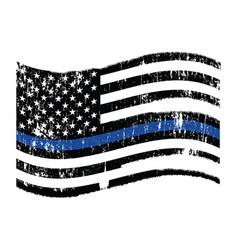 Waving police flag thin blue line vector