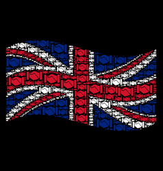 waving united kingdom flag pattern of acquisition vector image