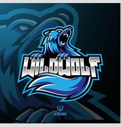 wild wolf mascot logo design vector image