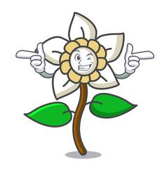 Wink jasmine flower character cartoon vector
