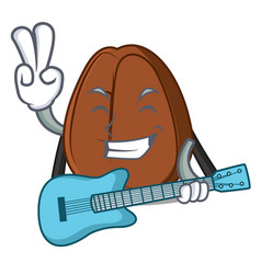 with guitar coffee bean mascot cartoon vector image