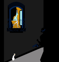 woman being watched in her apartment vector image