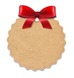 Xmas Label With Red Bow vector image vector image