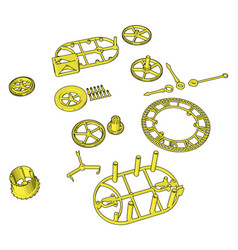 yellow disassembled pieces on white background vector image