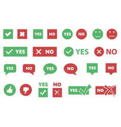 Yes or no icons tick and cross signs checkmarks vector