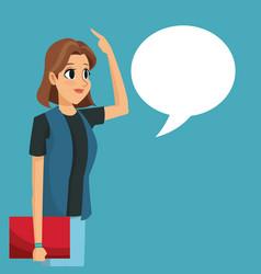 Cartoon girl talk bubble speech vector