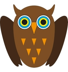 Cute Brown owl with yellow eyes vector image