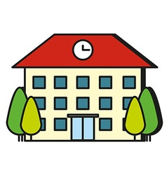 Large building with red roof vector image vector image