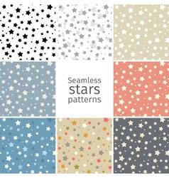 Set of 8 seamless stars patterns vector image
