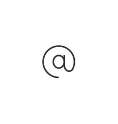 web internet at sign icon line style vector image