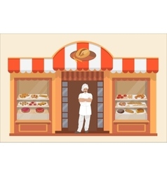 Bakery shop building with bakery products and vector image vector image