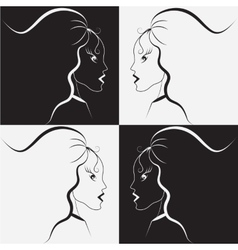 Black and white girl vector image vector image