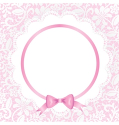 card with lace and napkin vector image vector image