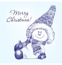 funny christmas snowman hand drawn vector image