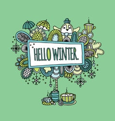 Hello Winter Hand Drawn Doodle Green vector image vector image