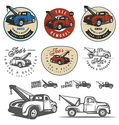Vintage car tow truck emblems and logos vector image vector image