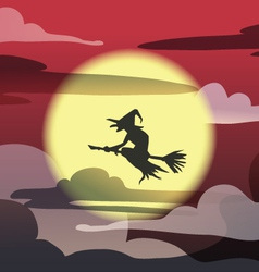 witch on red sky vector image