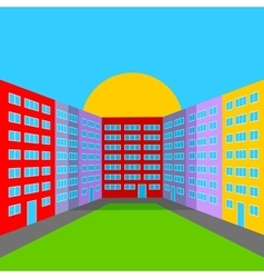 City yard in the morning vector image